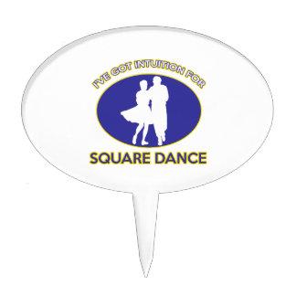 square dance design cake topper