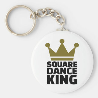 Square dance king basic round button keychain