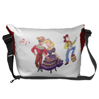 Square Dance Motif Messenger Bag