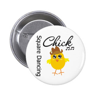 Square Dancing Chick Pinback Button