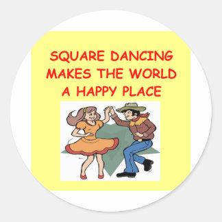 square dancing classic round sticker