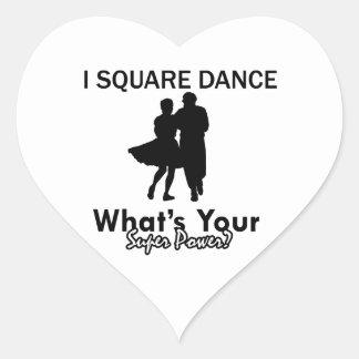 Square dancing designs heart sticker
