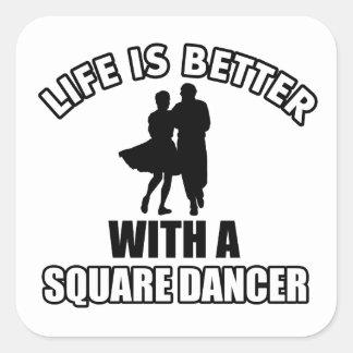Square dancing designs square sticker