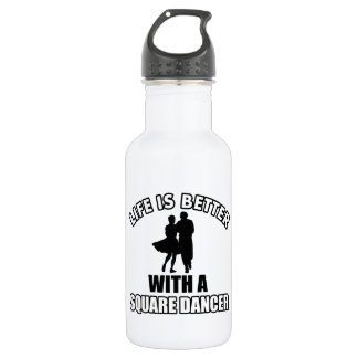Square dancing designs stainless steel water bottle