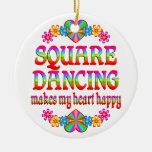 Square Dancing Heart Happy Christmas Ornament