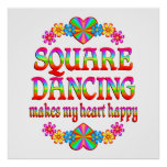 Square Dancing Heart Happy Posters
