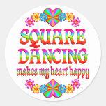 Square Dancing Heart Happy Sticker