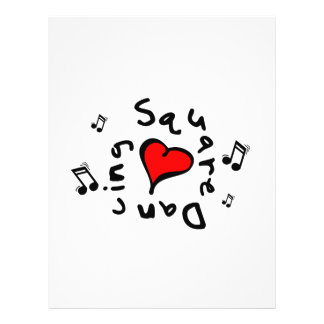 "Square Dancing I Heart-Love Gift 8.5"" X 11"" Flyer"