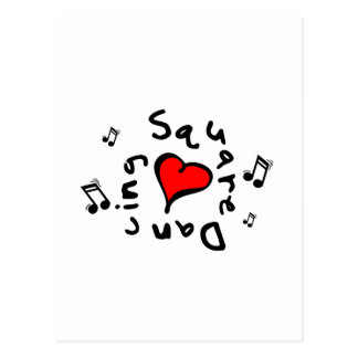 Square Dancing I Heart-Love Gift Postcard