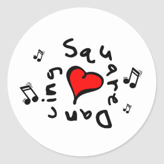 Square Dancing I Heart-Love Gift Classic Round Sticker