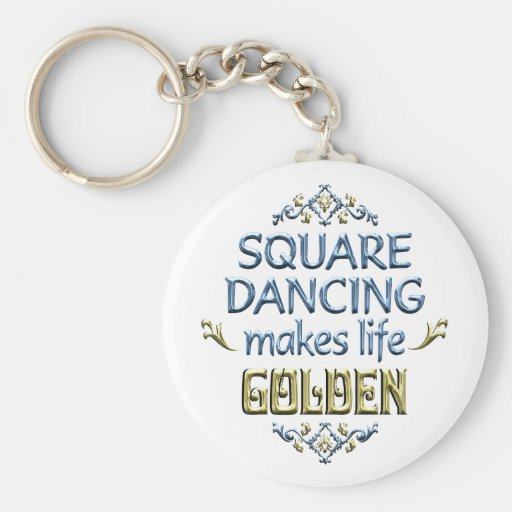 Square Dancing is Golden Key Chains