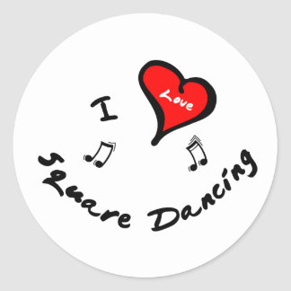 Square Dancing Items - I Heart Square Dancing Classic Round Sticker