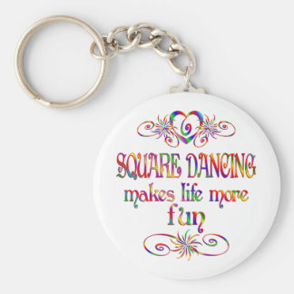 Square Dancing More Fun Basic Round Button Keychain