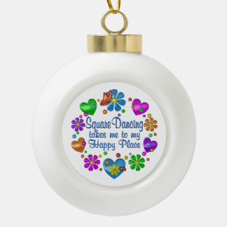 Square Dancing My Happy Place Ceramic Ball Christmas Ornament