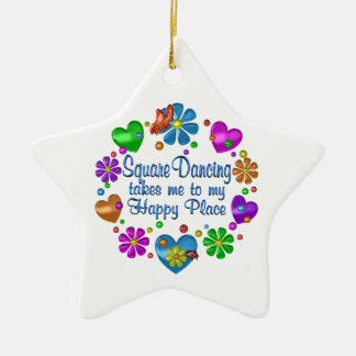 Square Dancing My Happy Place Ceramic Ornament