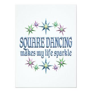 "Square Dancing Sparkles 5.5"" X 7.5"" Invitation Card"