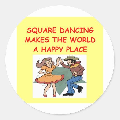 square dancing round sticker