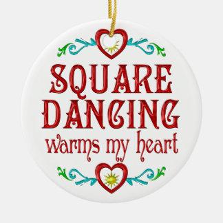 Square Dancing Warms My Heart Ceramic Ornament