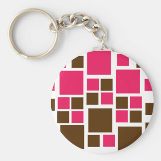 Square Design Art Brown / Hot Pink Keychain