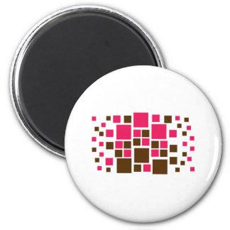 Square Design Art Brown / Hot Pink Magnet