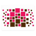 Square Design Art Brown / Hot Pink Postcard