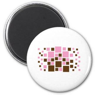 Square Design Art Brown / Pink Magnet