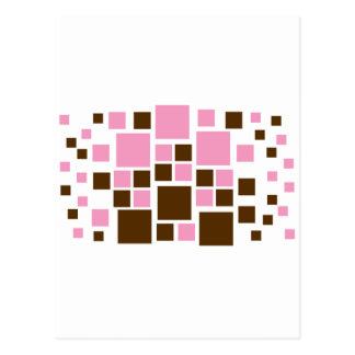 Square Design Art Brown / Pink Postcard