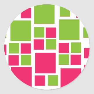Square Design Art Lime Green / Hot Pink Classic Round Sticker