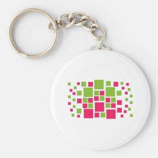 Square Design Art Lime Green / Hot Pink Keychain