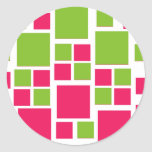 Square Design Art Lime Green / Hot Pink Stickers