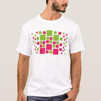 Square Design Art Lime Green / Hot Pink T-Shirt