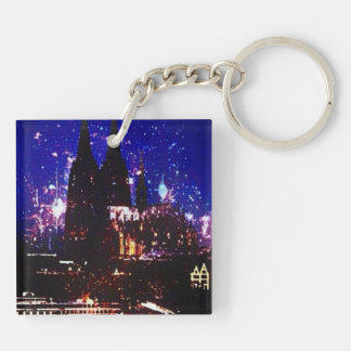 """Square (double-sided) key supporter """"Cologne """" Keychain"""