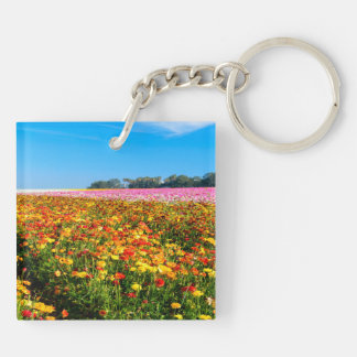 Square (double-sided) Keychain Flower Fields