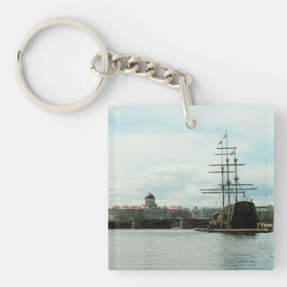 Square (double-sided) Keychain,Landscape with ship Keychain