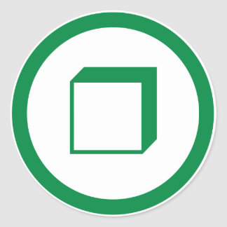 Square down-left classic round sticker