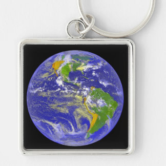 Square Earth Keychain