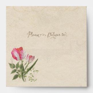 Square Elegant Botanical Floral Vintage Tulips Art Envelope