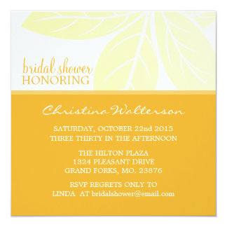 Square Elegant Golden Glow Bridal Shower Card