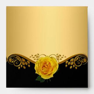 Square Envelope Pretty Gold Yellow Rose Black