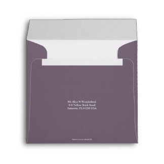 Square Envelope Thistle Grey Return Address