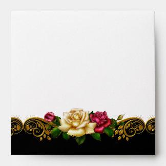 Square Envelope White Black Gold Pink Rose
