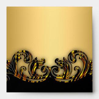 Square Exotic Gold Black Envelope