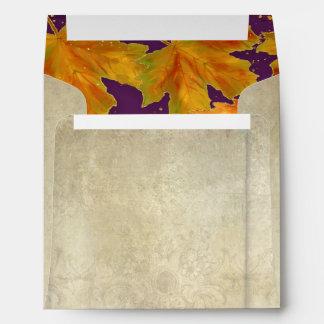 Square Fall Autumn Falling Leaves Elegant Wedding Envelope