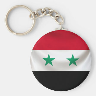 Square flag of Syria, ceremonial draped Keychain