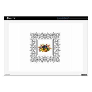 "square floral frame 17"" laptop decals"