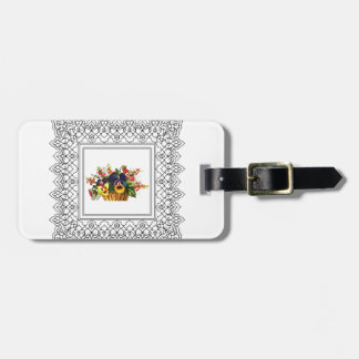 square floral frame luggage tag
