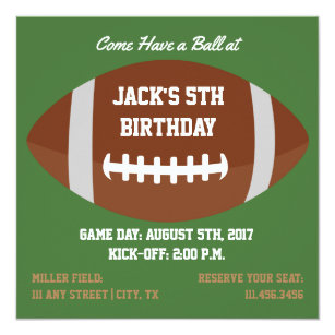square football themed invite for birthday party
