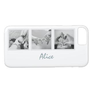 Square Frame Custom Photos and Name on Plain White iPhone 7 Case
