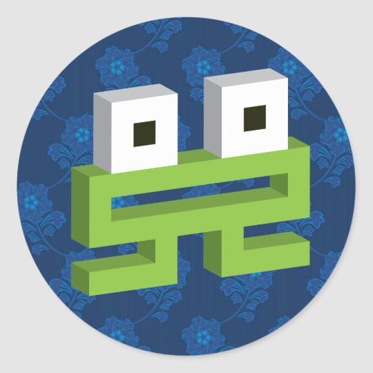 Square frog classic round sticker