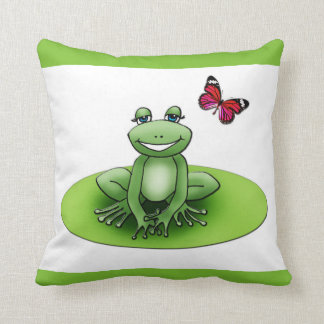 """Square """"Froggy the frog"""", green cushion apple"""